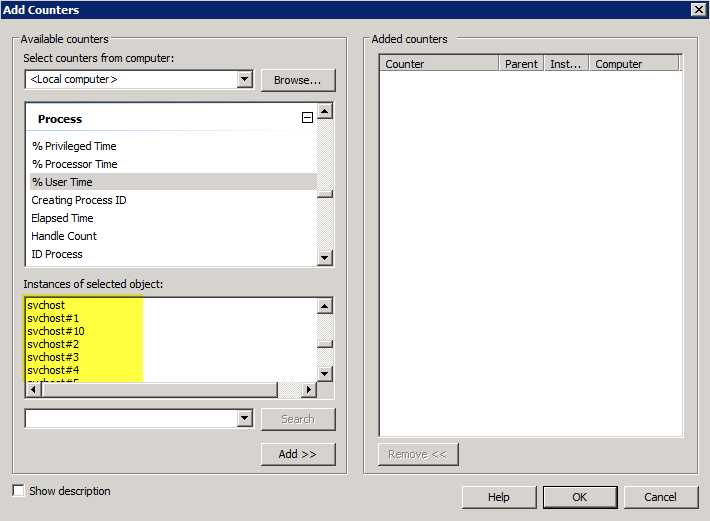 SCOM: Process Performance Collection Rule for Services