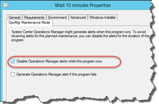 Use of Disable Operations Manager alerts option in ConfigMgr