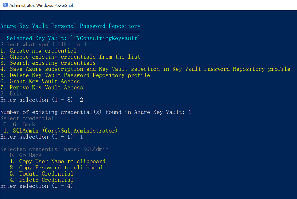Using Azure Key Vault as the Password Repository For You and
