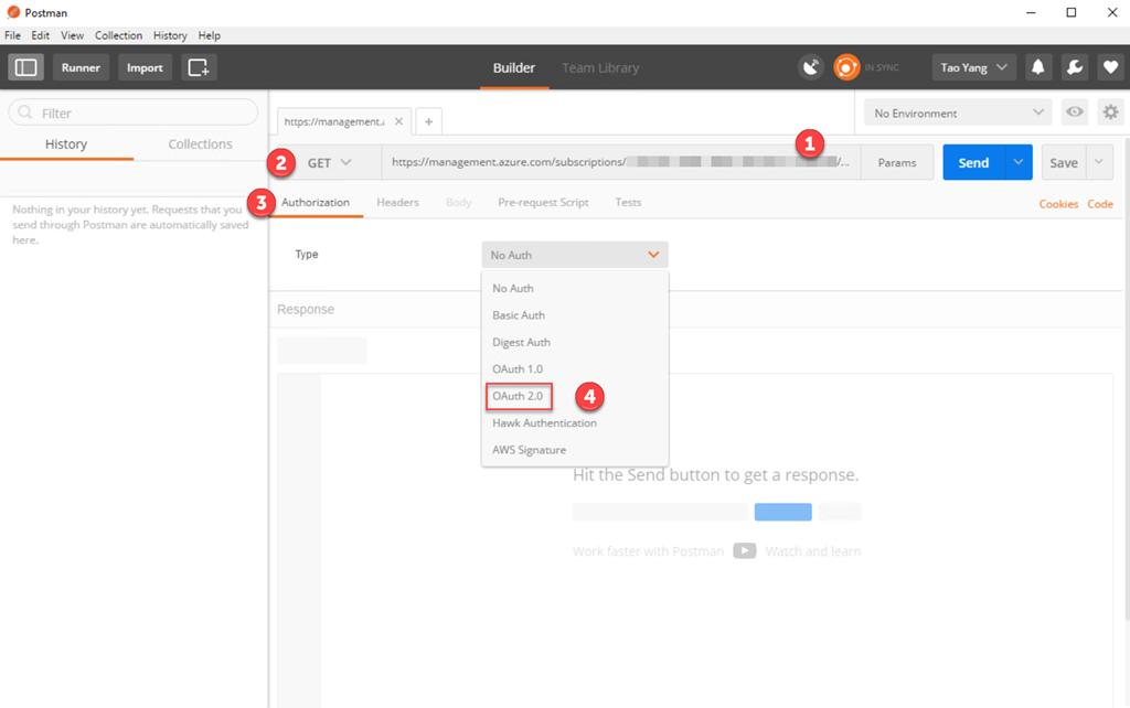 Using Postman Invoking Azure Resource Management APIs