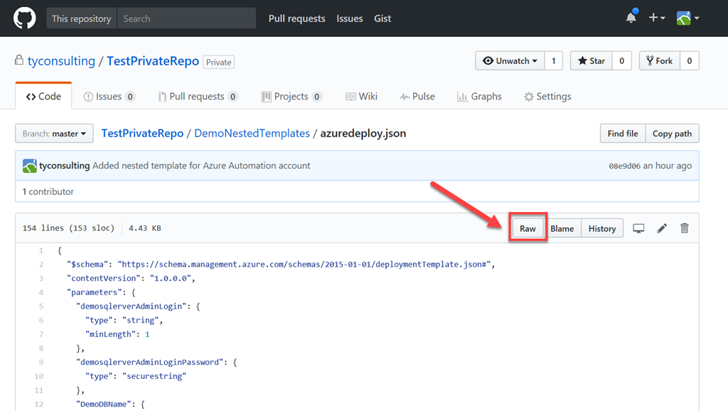Deploying ARM Templates with Artifacts Located in a Private GitHub