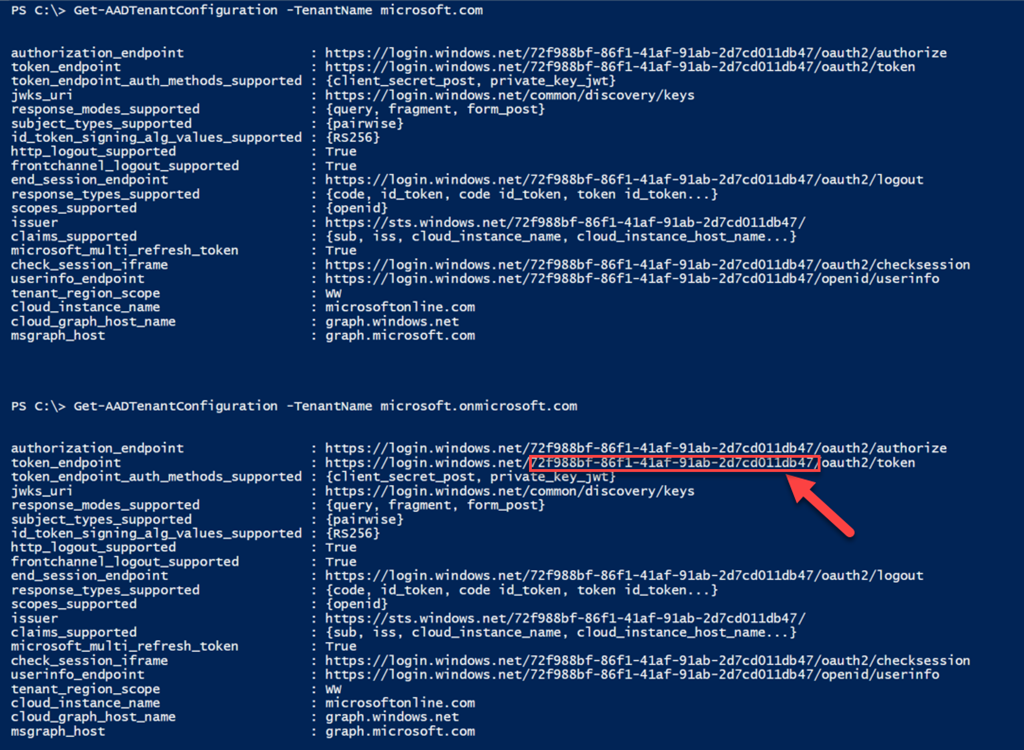 Getting Azure AD Tenant Common Configuration Such as Tenant