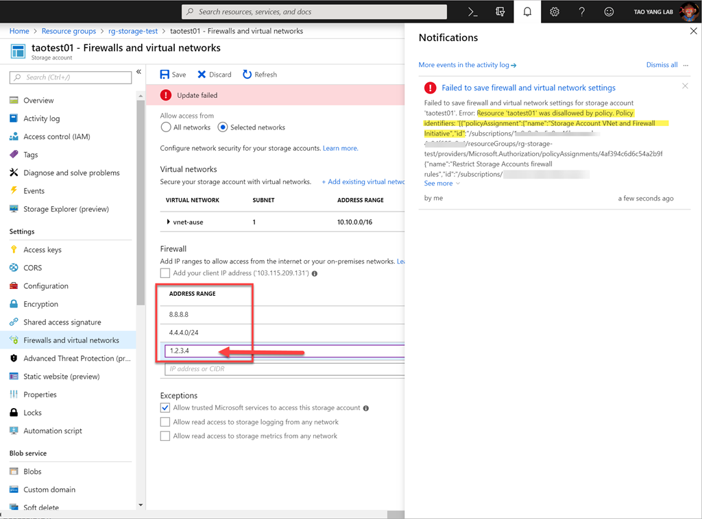 Azure Policy to Restrict Storage Account Firewall Rules | Managing